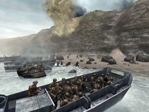 Call of Duty 2 - The Pointe du Hoc D-Day mission in the single-player campaign depicts U.S. Rangers going ashore in  LCVP landing craft.