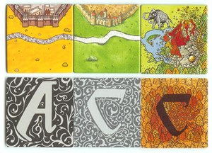 Carcassonne (board game) - Comparison of the starting tile and tile backs for the basic game (center) with two spin-offs: The Ark of the Covenant (left) and Carcassonne: Hunters and Gatherers (right).