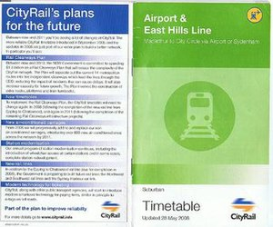 Airport & South Line - Image: City Rail Airport & East Hills Line 2006 Timetable