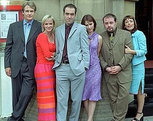 Cold Feet - (from left): Robert Bathurst, Hermione Norris, James Nesbitt, Helen Baxendale, John Thomson, and Faye Ripley