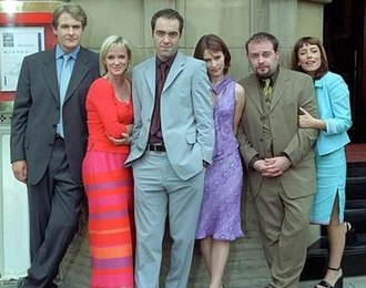 Cold Feet - (from left): Robert Bathurst, Hermione Norris, James Nesbitt, Helen Baxendale, John Thomson, and Faye Ripley