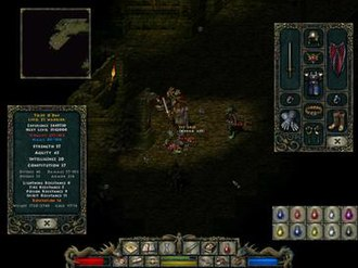 Divine Divinity - While exploring a dimly-lit sewer system, the male warrior character runs into a massed attack of lizardmen warriors and assassins. The character statistics and equipment windows are open. In the upper left is the auto-map window