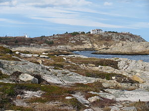 Duncan's Cove, Nova Scotia - Duncan's Cove, showing the Chebucto Head Lighthouse at left and a battery at right