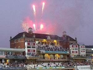2013 Ashes series - Fireworks were released from the Pavilion at The Oval at the end of the fifth Test.