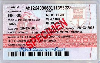 Gibraltar identity card - The reverse of the previous laminated version of the Gibraltar identity card before the introduction of the electronic version in 2015.