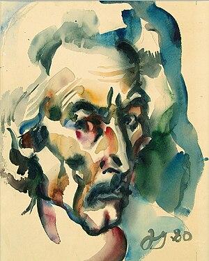 Givi Kandareli - Selfportret. Watercolor. 1980