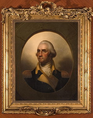 "New England Historic Genealogical Society - George Washington ""porthole"" portrait painted by Rembrandt Peale, 1853."