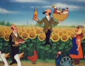 Professor Calculus - Calculus demonstrates the benefit of his Fruit d'or cooking oil to Nestor the butler
