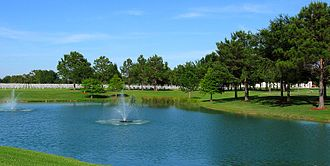 Houston National Cemetery - Pond adjacent to entrance of cemetery