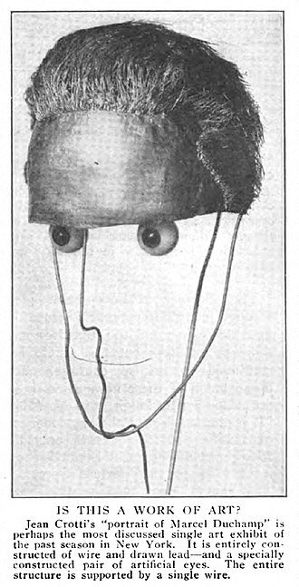 Jean Crotti - Jean Crotti, 1915, Portrait of Marcel Duchamp (Sculpture made to measure), mixed media. Exhibited Montross Gallery 4–22 April 1916, New York City. Sculpture lost or destroyed