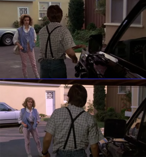 Claudia Wells' scene at the end of Back to the Future (top) was reshot with Elisabeth Shue for the beginning of Back to the Future Part II (bottom).
