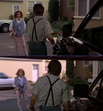 Back to the Future Part II - Claudia Wells' scene at the end of Back to the Future (top) was reshot with Elisabeth Shue for the beginning of Part II (bottom).