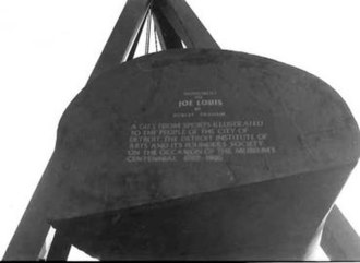 Monument to Joe Louis - Showing title of piece