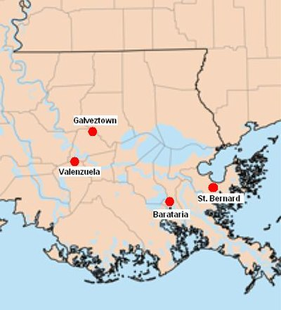 The four Isleño settlements in Louisiana, St. Bernard being the largest of the four