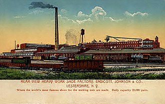 Endicott Johnson Corporation - Postcard view of one of the Johnson City (then Lestershire) factory complexes.  Much of the history of E-J was documented only in such post-card images.