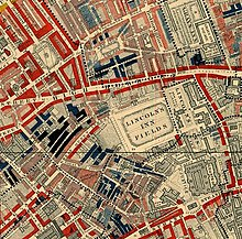 Lincolns Inn Fields In 1889 From Charles Booth Life And Labour Of The People London Red Areas Are Middle Class Well To Do Blue