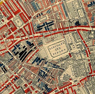 "Lincoln's Inn Fields - Lincoln's Inn Fields in 1889 from Charles Booth, Life and Labour of the People in London: red areas are ""middle-class, well-to-do""; blue areas are ""Intermittent or casual earnings"", and black areas are the ""lowest class...occasional labourers, street sellers, loafers, criminals and semi-criminals""."
