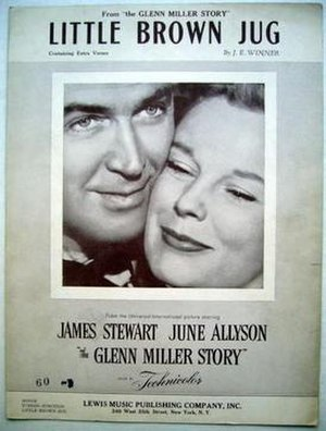 Little Brown Jug (song) - 1953 sheet music cover from the film The Glenn Miller Story, Lew Music, New York