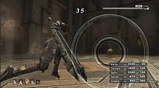 a standard battle from lost odyssey showing main protagonist kaim performing an attack with the aim ring system active