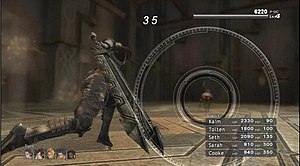 """Lost Odyssey - A standard battle from Lost Odyssey, showing main protagonist Kaim performing an attack with the """"Aim Ring System"""" active."""