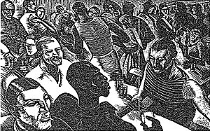 """The Roads to Freedom - Sartre's Paris on the Eve of War - """"Gaiety...Cafes."""" An engraving by Iain McNab. (Published in the NY Times in the book review of The Age of Reason, July 13, 1947)"""