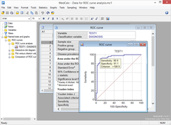 Screenshot of MedCalc statistical software