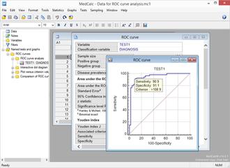 MedCalc - Screenshot of MedCalc statistical software