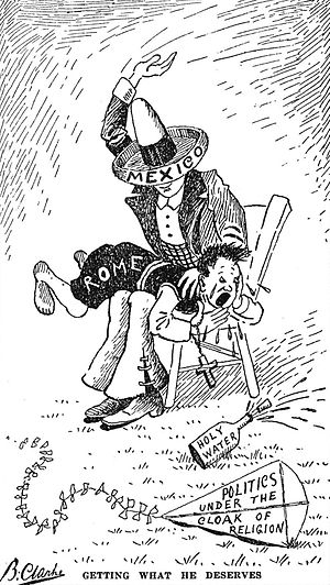 """Propaganda techniques - """"Getting What He Deserves"""" American anti-Catholic cartoon from Heroes of the Fiery Cross 1928."""
