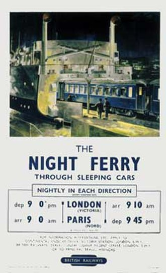 Night Ferry - A 1953 British Railways poster for the Night Ferry illustrating the loading of coaches onto the ferry