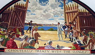 Treaty of Fort Clark - Mural depicting the treaty from the Missouri State Capitol