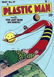 Plastic Man's shapeshifting abilities have often been used for humorous effect. Plastic Man #17 (May 1949). Cover art by Jack Cole.