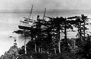 Princess May (steamship) - Princess May aground, as seen from Sentinel Island.