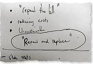 """2017 Patient Protection and Affordable Care Act replacement proposals - Notecard from Republican brain-storming session on which """"Repeal and replace"""" slogan originated, March 2010"""