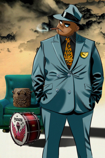 Russel Hobbs Fictional drummer for the virtual band Gorillaz