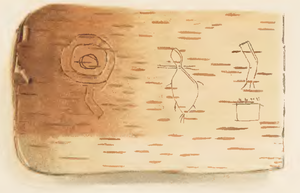 Ojibwe writing systems - Example of a Birch bark scroll piece