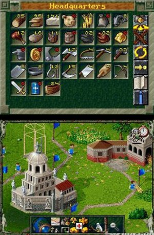 The Settlers II - Screenshot of The Settlers on Nintendo DS, showing the use of the DS's dual screens, with the game's Activity Window on the top and the animated gameplay on the bottom. The Activity Window currently shows the HQ stats, whilst the bottom shows the game's graphics unchanged from its original MS-DOS incarnation.