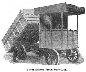 Garbage truck - Thornycroft Steam Dust-Cart of 1897 with tipper body
