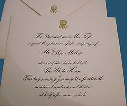 Graphics and calligraphy office wikipedia an engraved white house invitation during the administration of william howard taft showing the now classic combination of copper plate round hand and the stopboris Gallery