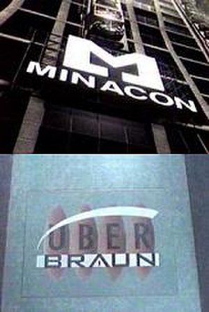 Total Recall 2070 - Company Logos for Minacon and Uber Braun