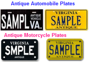 Antique vehicle registration - Examples of Virginia's antique license plates