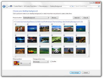 Features new to Windows 7 - The Desktop Slideshow feature in Windows 7.