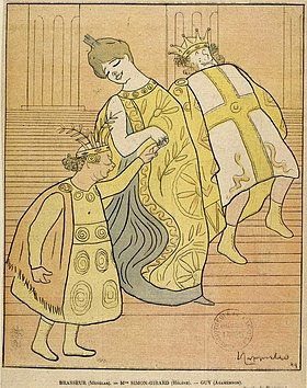 caricature of young woman, with a small and weedy man and a large robust man, all in Ancient Greek costume