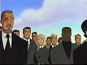 Superman: The Animated Series - The original mourners attending Dan Turpin's funeral.