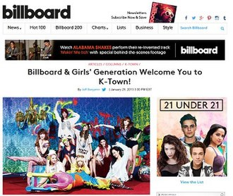 Billboard K-Town - Screenshot of Billboard K-Town column launch
