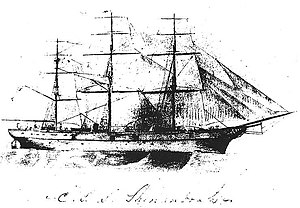 CSS Shenandoah - A pencil sketch of CSS Shenandoah, from the inside cover of a notebook kept by her commanding officer