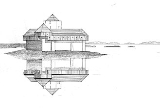 Kisimul Castle - Reconstruction of the castle with timber hoardings by Bruce Walker.