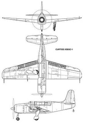 Curtiss XSB3C - Three-view drawing of the XSB3C-1 from Johnson 2008.