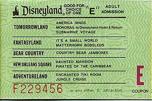 E ticket - Disneyland E ticket circa 1975–1977.