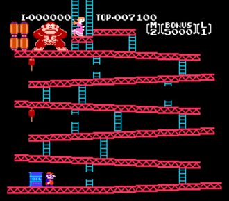 Donkey Kong - The original Donkey Kong video game running on the Nintendo Entertainment System