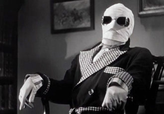 Griffin (The Invisible Man) - Griffin, portrayed by Claude Rains in the 1933 film, in an invisible state wearing an outfit to enable others to see him.